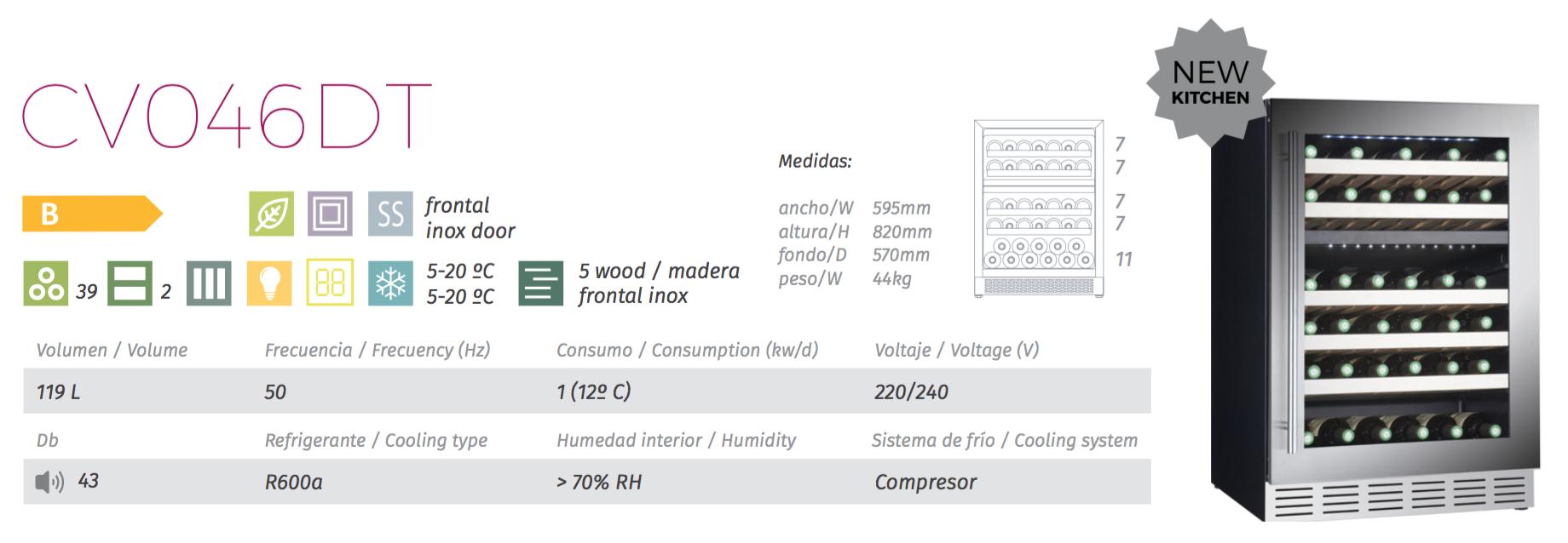 vinoteca cavanova CV046DT tabla caracteristicas