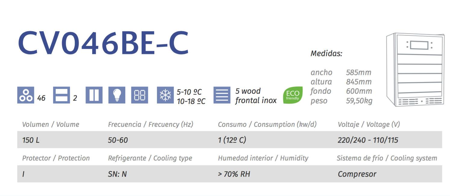 vinoteca cavanova CV046BE-C tabla caracteristicas